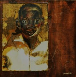 """Solomon Waits with a Smile"", Mixed media on wood panel, 24"" X 24"", 2011"