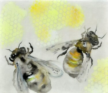 Bees with yellow honeycomb I