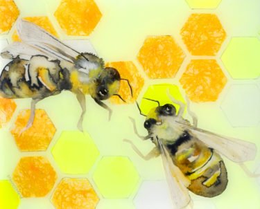 yellow-honecomb-with-two-bees-i